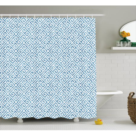 Greek Key Shower Curtain Tile Mosaic Pattern In Blue And White With Antique Meander Camo Effect Fabric Bathroom Set Hooks 69w X 75l Inches