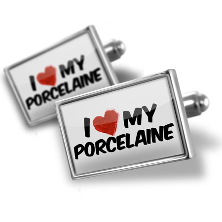 Cufflinks I Love My Porcelaine Dog From France   Neonblond