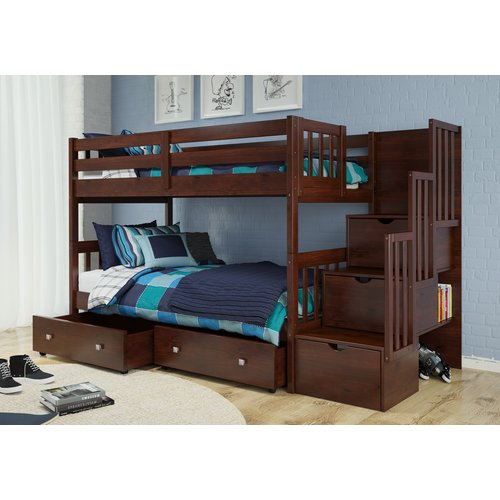 Harriet Bee Basting Twin Over Twin Bunk Bed with Drawers