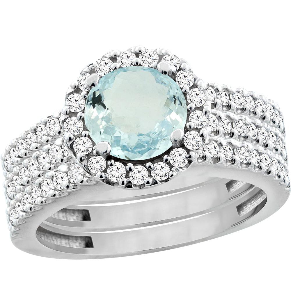 14K White Gold Natural Aquamarine 3-Piece Bridal Ring Set Round 6mm Halo Diamond, size 5.5 by Gabriella Gold