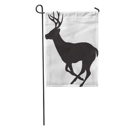 LADDKE White Deer Tail Silhouette Head Stag Reindeer Clip Shadow Garden Flag Decorative Flag House Banner 12x18 inch