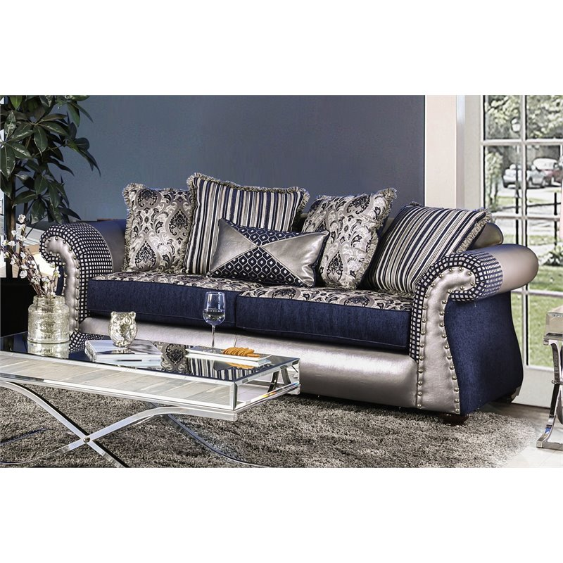 Furniture of America Ivy Traditional Sofa in Navy and Silver