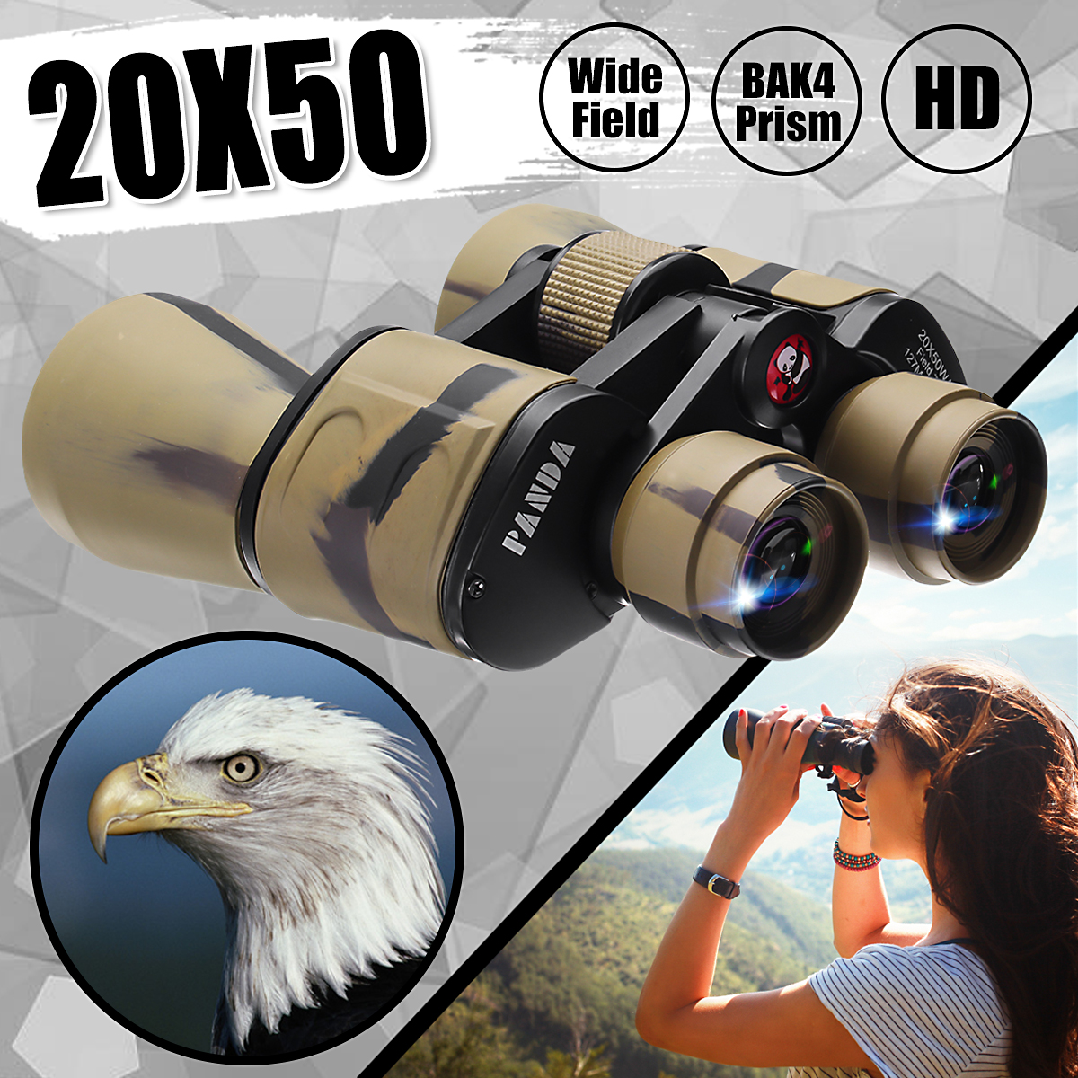 Magnification 20x-50x 50mm Camouflage Binoculars Kit HD Zoom Low Night Vision Water Resistant Waterproof Outdoor Sports