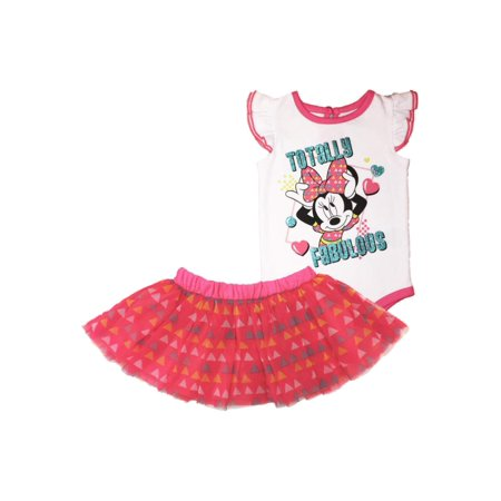 Disney Infant Girls Minnie Mouse Baby Outfit Sparkly Body Suit & Pink Tutu 0-3M (Minnie Mouse Suit)