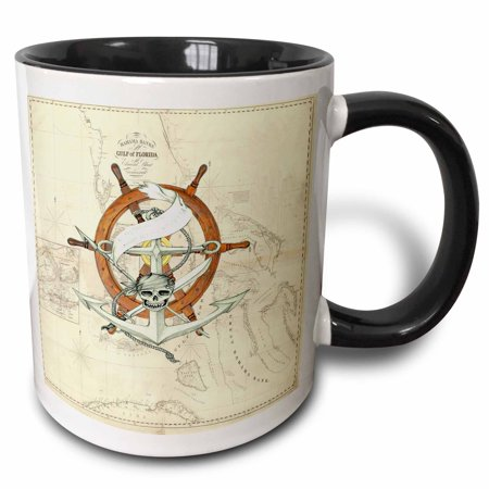3dRose Print of Vintage Florida Chart With Pirate Wheel - Two Tone Black Mug,