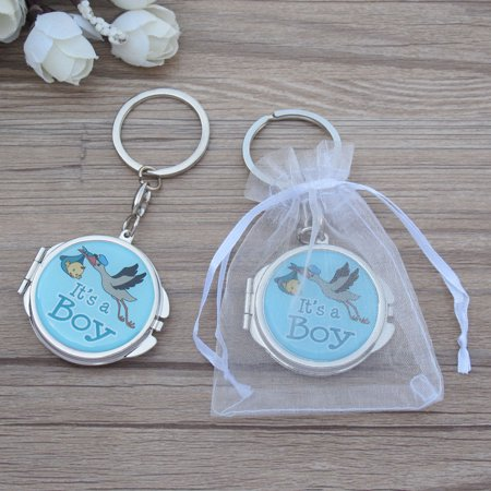 Baby Boy Party Favors Ideas (12 PCS Baby Shower Blue Boy Stork Design Mirror Keychain Party Favor Set With Organza Bag New Born Baby Boy)
