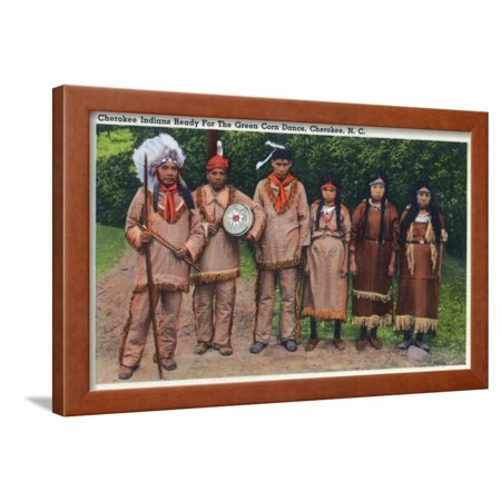 North Carolina - Cherokee Indians Ready for Green Corn Dance Framed Print  Wall Art By Lantern Press