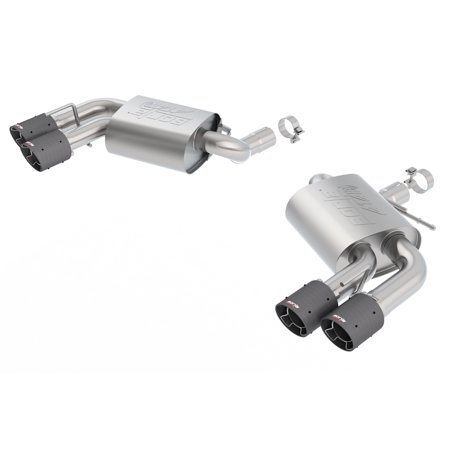 Borla 11921CF ATAK Axle-Back Exhaust System; 2.75in. Into Muffler Dual 2.5in. Out; Incl. Mufflers/Tailpipes/Clamps/4x6.25 in. Carbon Fiber Round Tips; Dual Split Rear Exit; (Ranger Rear Exhaust System)