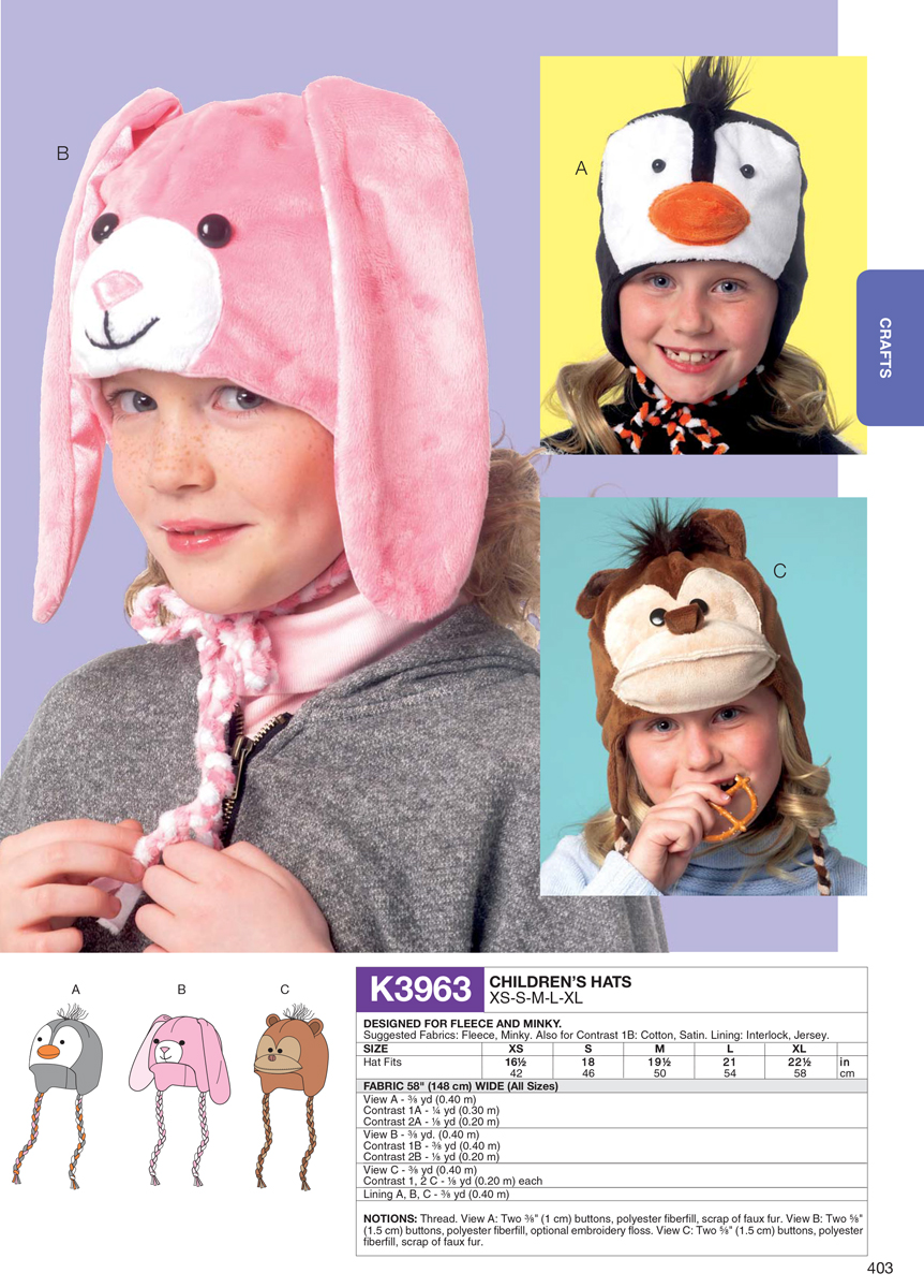 d711b1d0276 Children s Hats-All Sizes in One Envelope - SEWING PATTERN