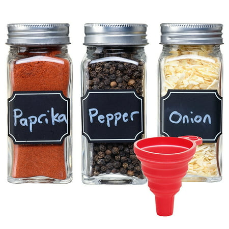 Set of 14 - Square Glass Spice Jars with Shaker Tops and Funnel, Chalkboard Labels & Pen, and Airtight Silver Metal Lids, 4 Ounce Capacity, By California Home Goods (Glass Jar 8 Oz With Lid)