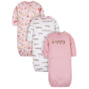 Gerber Baby Girl Gowns, 3-Pack (0/6M)