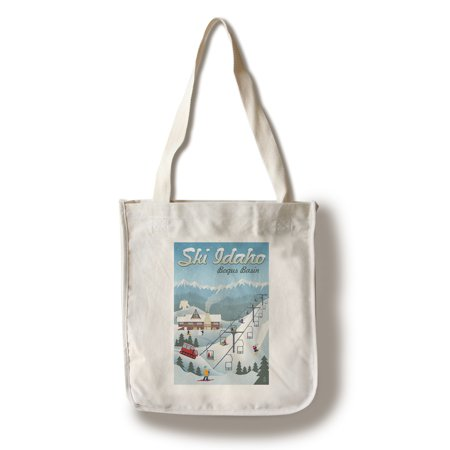Bogus Basin, Idaho - Retro Ski Resort - Lantern Press Artwork (100% Cotton Tote Bag -