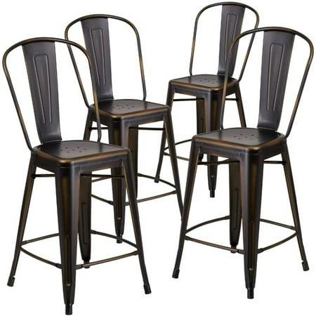 Flash Furniture 4pk 24 High Distressed Copper Metal