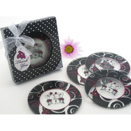 Bistro for Two Round Glass Coaster Favors in Designer Gift Box (Set of 4)