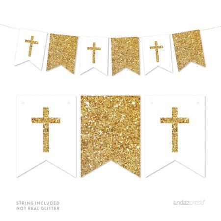 Gold Gold Glitter Baptism Communion Christening Pennant Party Banner](Christening Decorations)