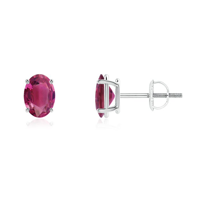 Angara Prong Set Pink Tourmaline Stud Earrings in Platinum VCM2QKy