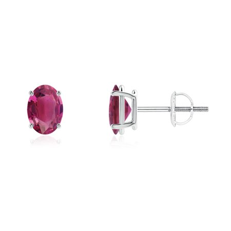 October Birthstone Earrings G Set Oval Solitaire Pink Tourmaline Stud In 950 Platinum