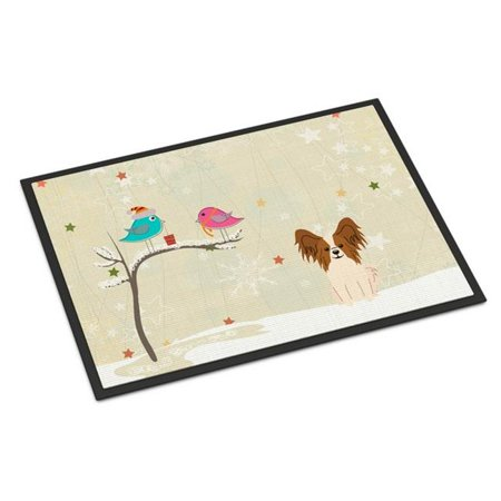 Carolines Treasures BB2550MAT Christmas Presents Between Friends Papillon Red White Indoor or Outdoor Mat, 18 x 0.25 x 27 in. - image 1 de 1