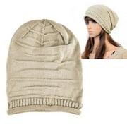 Zodaca Beige Fashion Solid Color Unisex Knit Baggy Beanie Hat Winter Warm Oversized Ski Cap