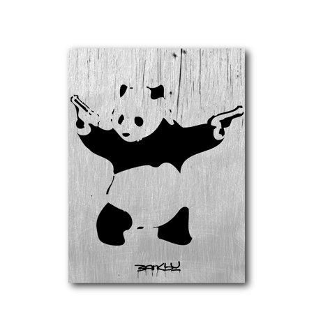 Banksy Panda With Guns Brushed Aluminum Metal Print (14