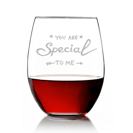 You are Special To Me Engraved Stemless 15oz Wine Glass (Special Wing)