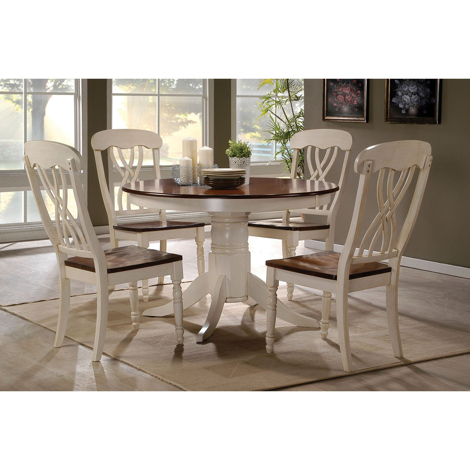 Acme Dylan Side Chair, Buttermilk and Oak, Set of 2