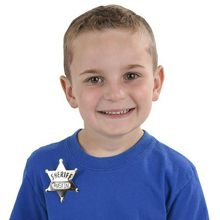 Metal Deputy Sheriff Badge - Pack of 12 Personalized Officer Name Tag Brooch for Kids - Perfect for Law Enforcement Officer Costume, Cowboy Western Parties, Stage Plays and Unique Party Bag Fillers
