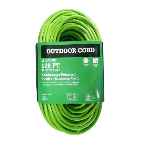 WorkChoice 120' 16/2 Outdoor Extension Cord, Lime Green