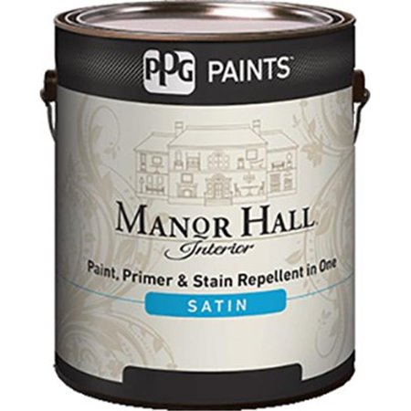 PPG Architectural 82-400-01 1 gal Manor Hall Interior Satin Latex Paint, Bright White - Pack of (Ppg Fine Satin)