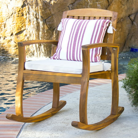 Best Choice Products Outdoor Patio Acacia Wood Rocking Chair W/ Removable Seat