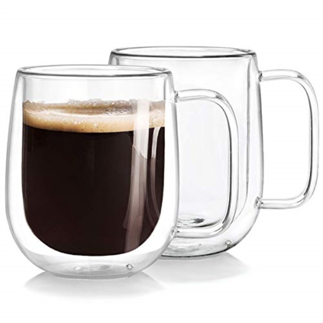double wall glass coffee mugs tea cups set of 2, thermal ...