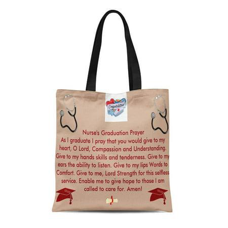 LADDKE Canvas Tote Bag Nurses Nurse Graduation Prayer Reusable Handbag Shoulder Grocery Shopping - Nurse Purse