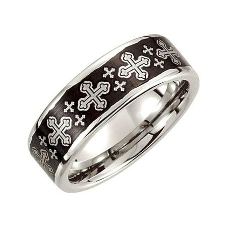 Cobalt 8mm Black Laser Cross Design Wedding Band Size 8