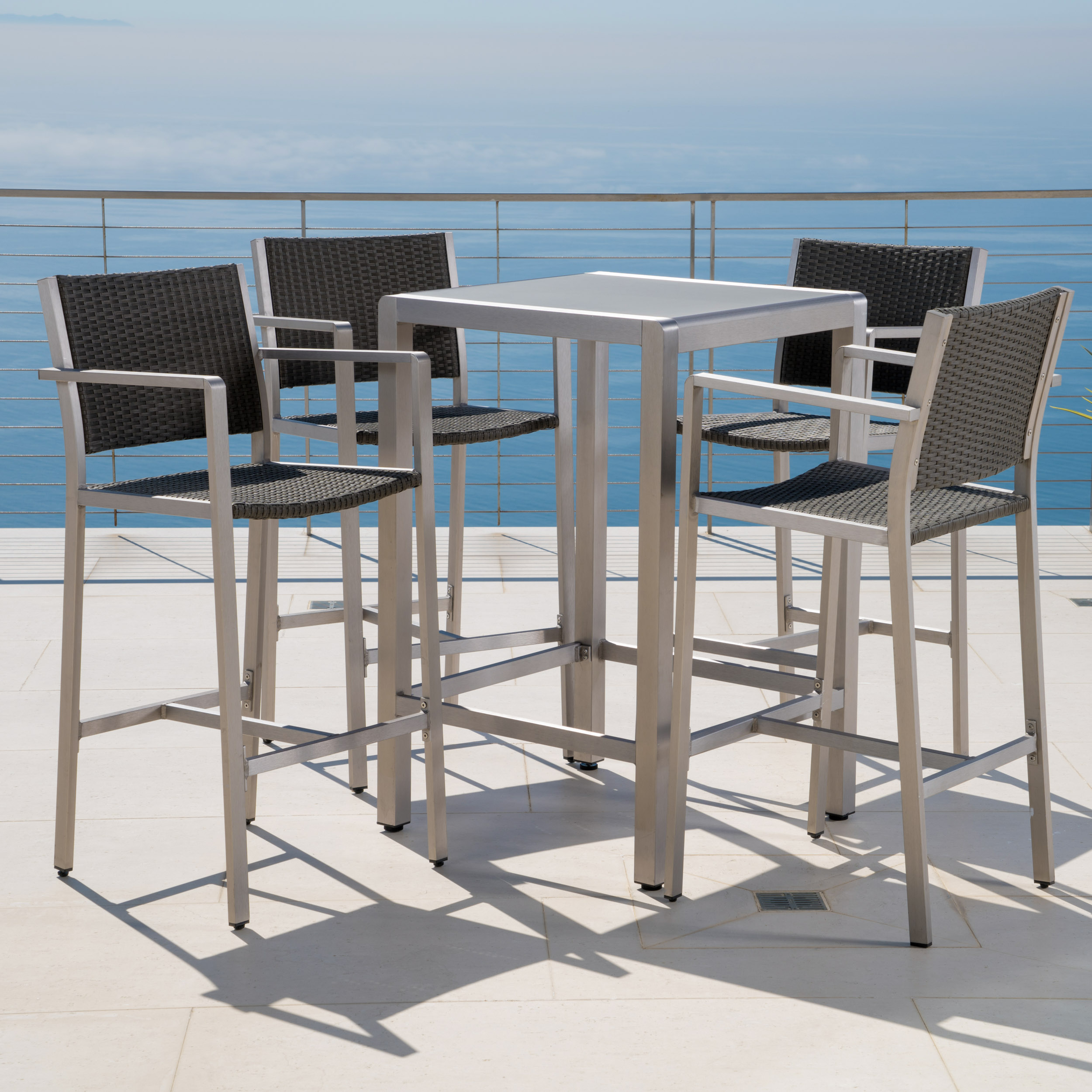 Carmen Outdoor 5 Piece Grey Wicker Bar Set with Glass Table