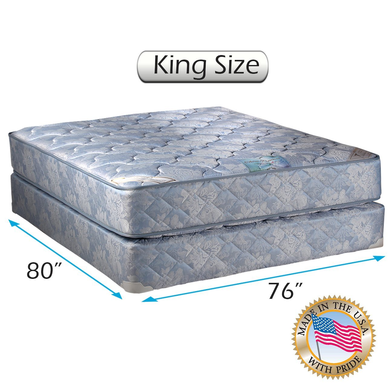 Chiro Premier (King size) Two-Sided Medium Firm (Blue) Mattress Set with Bed Frame Included - Fully Assembled, Spinal Support, Orthopedic Type, Longlasting Comfort by Dream Solutions USA