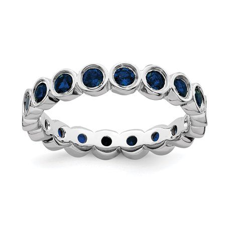 925 Sterling Silver Created Sapphire Band Ring Size 8.00 Stone Stackable Gemstone Birthstone September Fine Jewelry For Women Gifts For Her - image 8 of 8