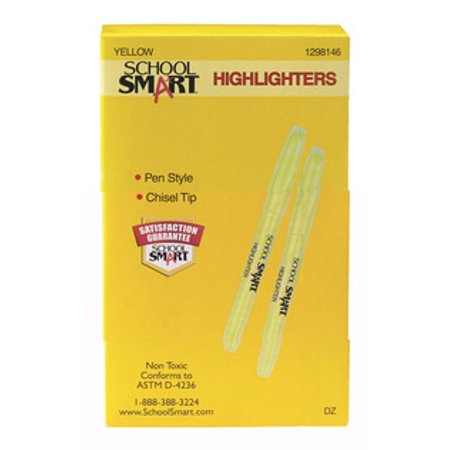School Smart Highlighter, Chisel Tip, Yellow, Pack of