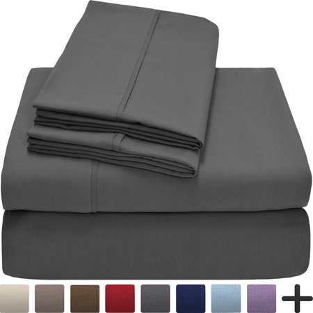 (Premium 1800 Ultra-Soft Microfiber Collection Sheet Set - Double Brushed - Hypoallergenic - Wrinkle Resistant - Deep Pocket (Queen, Grey))