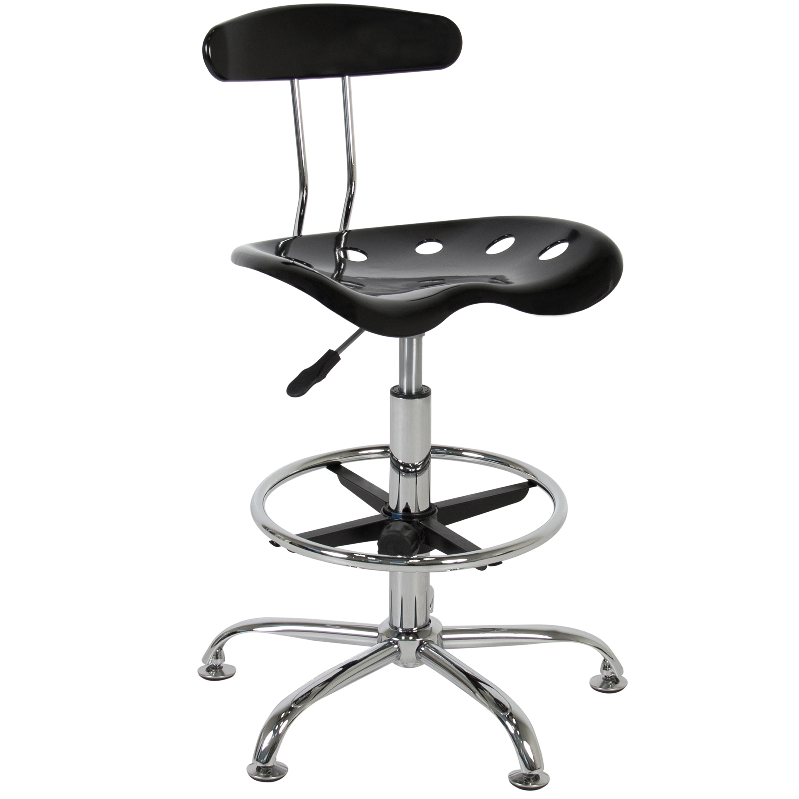 ABS Tractor Seat Adjustable Bar Stools Swivel Chrome Drafting Chair Modern  Black   Walmart.com