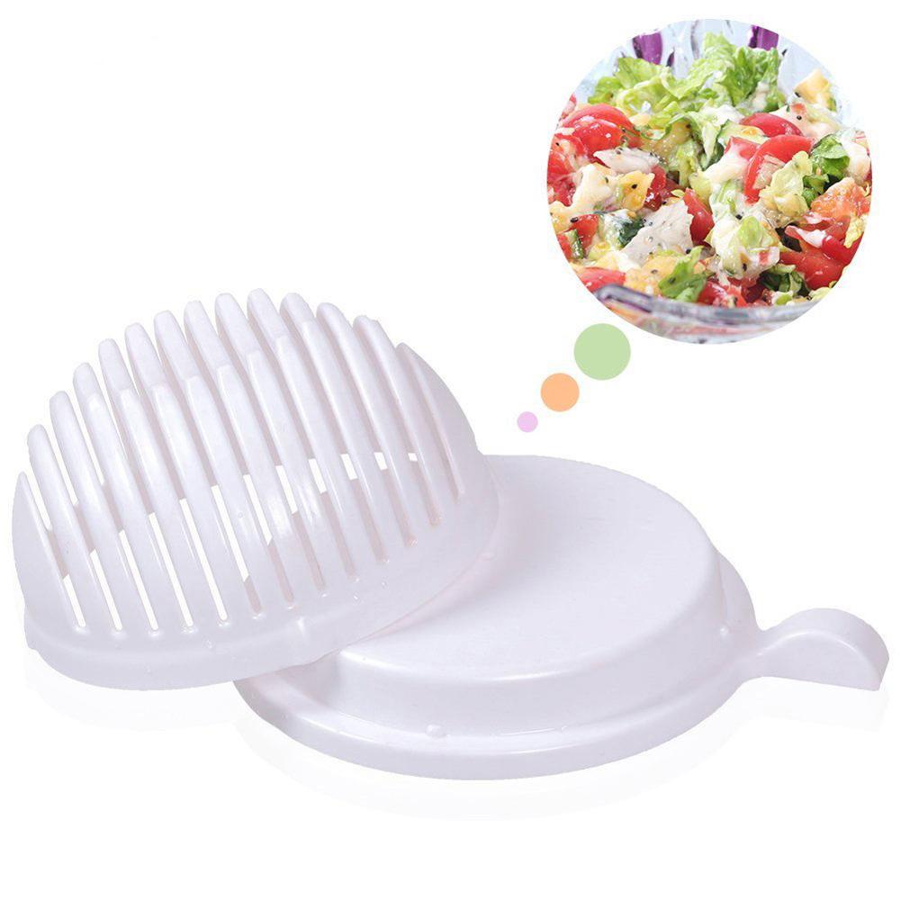 Girl12Queen Salad Cutter Easy Maker Bowl Fruit Vegetable Slicer Easy Washing Chopper Tool