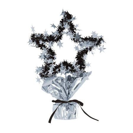 Club Pack of 12 Black and Silver Star Gleam 'N Shape New Year's Centerpieces 11.5''
