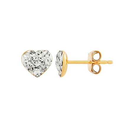 Brilliance Fine Jewelry Sterling Silver and 18K Yellow Flash Plated Polished Heart Studs with Crystal Earrings
