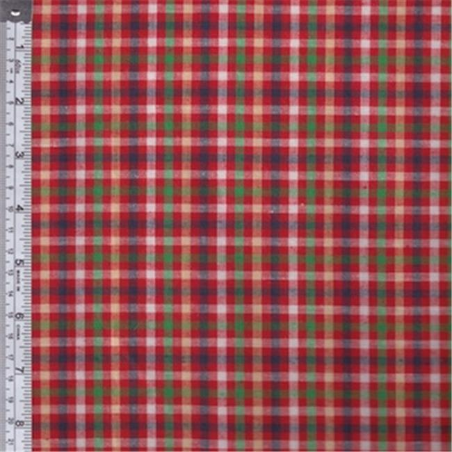 Textile Creations RW0129 Rustic Woven Fabric, Check Red, Green And Yellow, 15 yd.