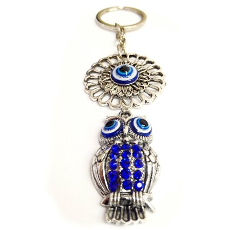 1 Evil Eye Owl Key Chain Lucky Blue Crystal Keyring Keychain Kabbalah -