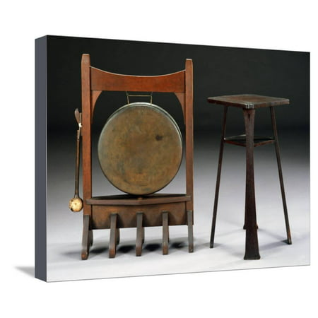 An Oak and Bronze Dinner Gong, Circa 1902, a Rare Oak Drink Stand, Model 9929, Circa 1901 Stretched Canvas Print Wall Art By Dirk Van Erp