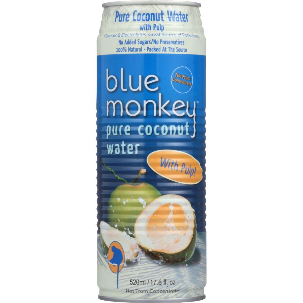 Blue Monkey Coconut Water, Pure, With Pulp, 17.6 Oz (Pack...