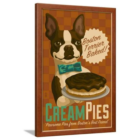 Boston Terrier - Retro Cream Pie Ad Framed Print Wall Art By Lantern