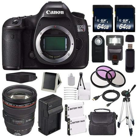 Canon EOS 5DS R DSLR Camera (International Model No Warranty) 0582C002 + Canon EF 24-105mm f/4L IS USM Lens + LP-E6 Battery + External Rapid Charger + 64GB SDXC Class 10 Memory Card Bundle