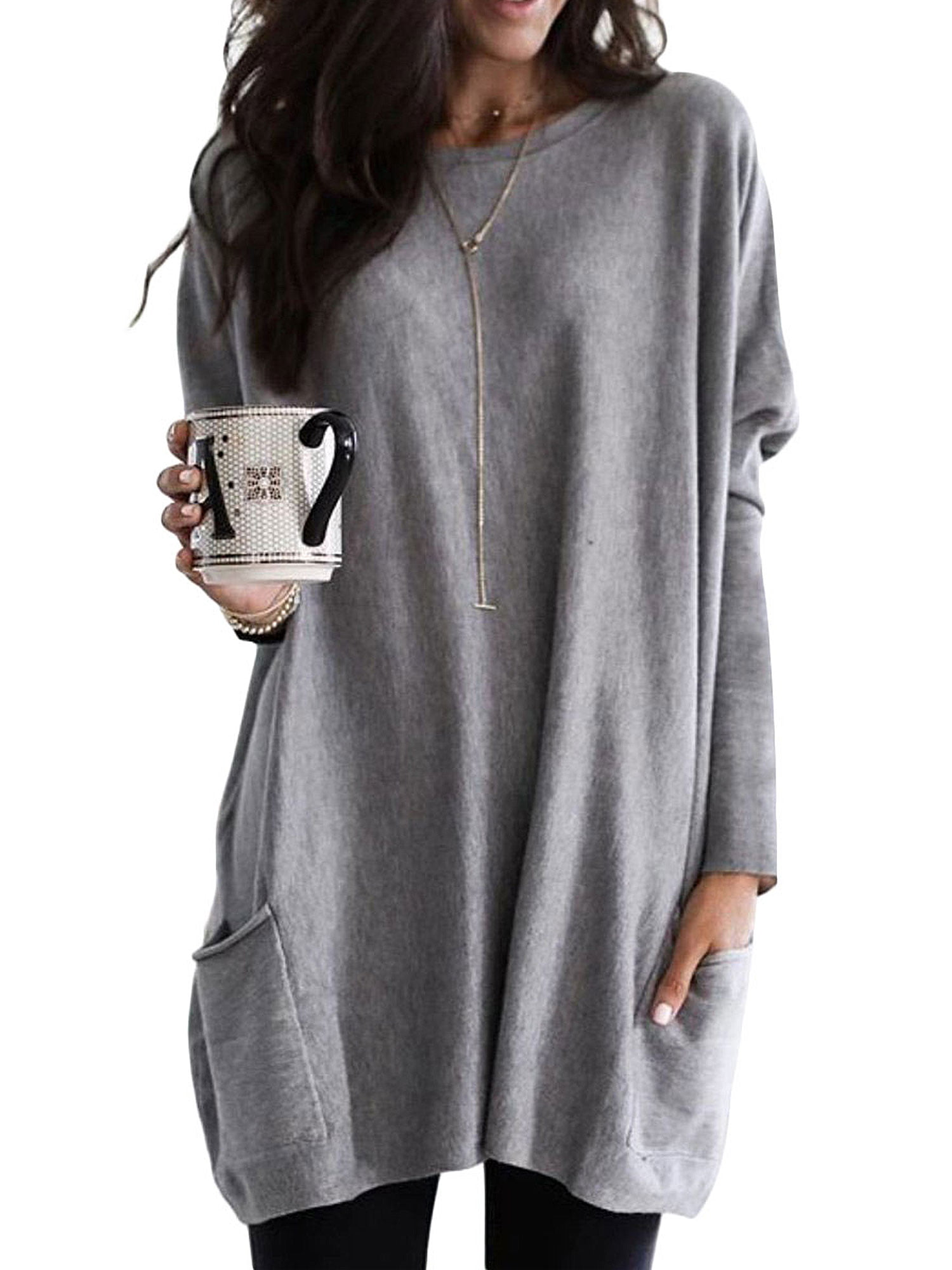 Womens Sweatshirt Dress Casual Loose Oversized Knitted Crewneck Pullover Long Tunic Pullover Blouse Tops Shirts Dress