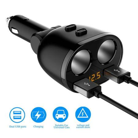 - EEEKit 1 to 2 Car Cigarette Lighter Socket Splitter Dual USB Ports Car Charger Power Adapter for Smartphone, Cellphone